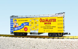 Usa Trains G Scale Us Reefer Car R16444 Old Master Beer – Yellow/wabash Blue