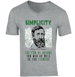 HENRY DAVID THOREAU SIMPLICITY QUOTE - NEW COTTON GREY V-NECK TSHIRT $22.16