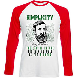 HENRY DAVID THOREAU SIMPLICITY QUOTE - NEW RED SLEEVED TSHIRT $20.86