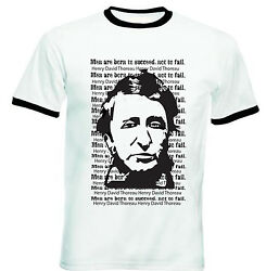 HENRY DAVID THOREAU MEN QUOTE - NEW BLACK RINGER COTTON TSHIRT