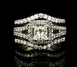 Paul Winston Natural 2.0ctw Diamond 14k White Gold Guard And Engagement Ring Set