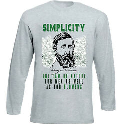 HENRY DAVID THOREAU SIMPLICITY QUOTE - NEW COTTON GREY TSHIRT $22.16