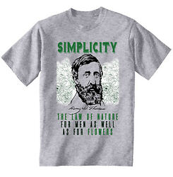 HENRY DAVID THOREAU SIMPLICITY QUOTE - NEW COTTON GREY GREY TSHIRT $22.16