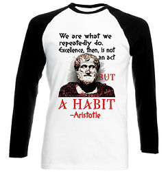 ARISTOTLE WE ARE QUOTE - NEW BLACK SLEEVED BASEBALL COTTON TSHIRT