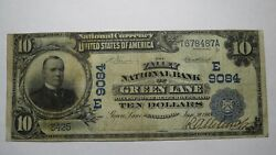 10 1902 Green Lane Pennsylvania Pa National Currency Bank Note Bill Ch 9084 Vf