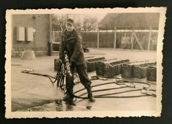 Vintage Photo Military Man Filling Up A Lot Of Gas Cans 3303