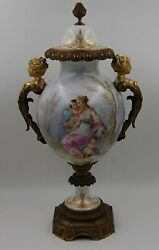 Magnificent 19c French Hand Painted Sevres Urn On Bronze Base ...wow