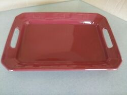 Longaberger Pottery Handled Platter Serving Tray Paprika Red With Box