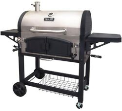 Dyna-glo Premium Charcoal Bbq Grill Dual Zone Temperature Gauge Cast Iron Grates