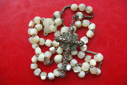 Antique Mother Of Pearl French Catholic Rosary With Silver Filigree Cross