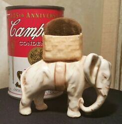 Pin Cushion Antique English Pottery Sewing Craft Elephant Figurine Vtg Statue