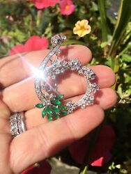 Estate Vintage 18k Gold 3.00ct GVS Diamond Emerald Brooch Pin Pendant VIDEO