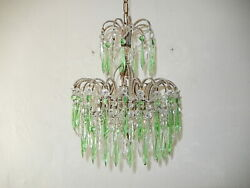 C 1920 Italian Micro Beaded Swags Green Crystal Prisms Rare Chandelier Glam