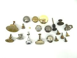 Antique And Vintage Used Old Mystery Metal Brass Drawer Pulls Hardware Round Knobs