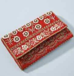 Anthropologie Red Beaded Velvet Clutch/purse. Nwt. Retail- 150