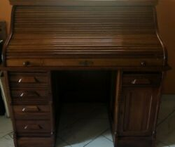 Antique Kelsall Solid Oak Roll Top Desk - Late 1800and039s