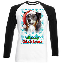 Black Collie Santa snow BASEBALL COTTON TSHIRT