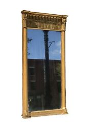 Antique 19th C Federal / Classical Period Carved And Gilt Entry / Pier Mirror