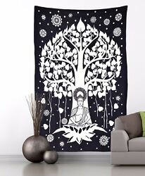 INDIAN TAPESTRY LORD BUDDHA UNDER TREE WALL HANDING TREE OF LIFE CHRISTMAS GIFT