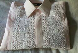 1970s Pink Dinner Shirt White Lace Front Double Cuffs 14.5 Inch Collar