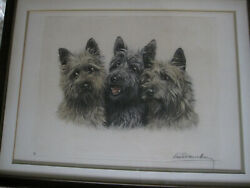 Vintage '30 Original Etching by LEON DANCHIN 3 Terrier Dogs 1 Scottish