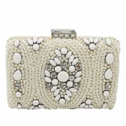 White Women Beaded Evening Bags Wedding Purses and Handbags Bridal Clutch Bag $19.99