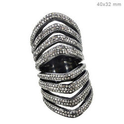 Solid 925 Sterling Silver 2.6 ct Natural Diamond Pave Long Ring Designer Jewelry