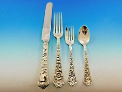 Cluny By Gorham Sterling Silver Flatware Dinner Size 4 Piece Place Setting