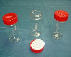 8 Oz Clear Round Spice Bottle Jars With Red Or Black Lined Caps U-pick