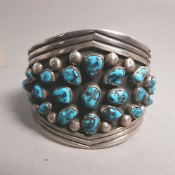 1950-60's Navajo Kee Joe Bisbee Turquoise And Silver Cuff Bracelet Hvy,