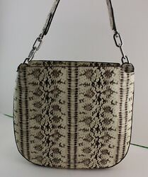 NEW AUTHENTIC MICHAEL KORS FULTON SNAKE EMBOSSED PYTHON HANDBAG LG HOBO WOMEN#x27;S $139.99