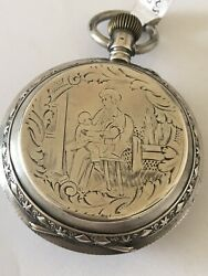 Antique Beautifully Engraved Full Hunter Cased Silver Pocket Watch