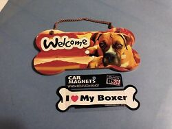 Little Gifts Boxer Welcome Bone Sign amp; Boxer Car Bone Magnet NEW