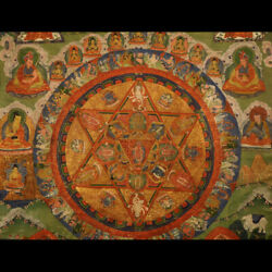 Great Rare 18th Old Antique Tibet Tibetan Thangka Tangka Mandala of Vajravahari