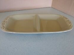 Longaberger Usa Pottery Woven Traditions Divided Dish In Sage Green New