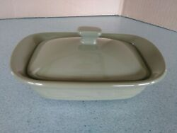 Longaberger Pottery Mini Handled Casserole Dish And Lid In Sage Green New No Box