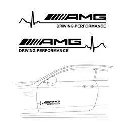 2x 12 Amg Driving Performance Sticker Decal Car Side Hood Door Body Decoration