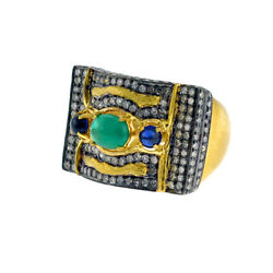 2.35ct Pave Diamond And Emerald Cocktail Ring 18k Gold 925 Silver Handmade Jewelry