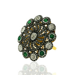 Pave Diamond And Emerald Cocktail Ring 18k Gold Sterling Silver Women Jewelry