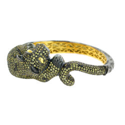 Diamond 14K Gold Silver Yellow Sapphire Panther Lion Design Bangle Gift Jewelry