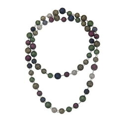 107.03 Natural Sapphire Beaded Necklace 925 Sterling Silver Diamond Jewelry