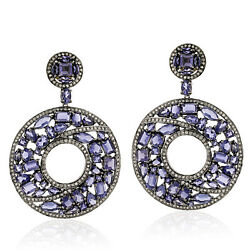 49.3ct Iolite And Diamond Cluster Dangle Earrings Gold 925 Sterling Silver Jewelry