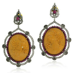 Diamond Ruby Carved Cameo Dangle Earrings 18k Gold Silver Victorian Jewelry