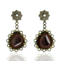 18kt Gold 38.78ct Pave Diamond And Geode Dangle Earrings Sterling Silver Jewelry
