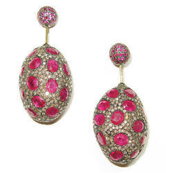 5.3ct Pave Diamond And Ruby Double Sided Earrings Silver 14k Gold Fashion Jewelry