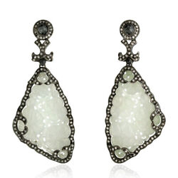 65.95ct Carving Jade And Diamond Dangle Earrings 18k Gold 925 Silver Jewelry