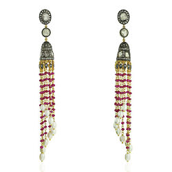 18.83ct Ruby And Pearl Beads Dangle Earrings Diamond 18k Gold 925 Silver Jewelry