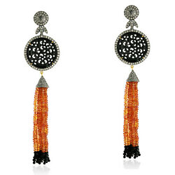 134.75ct Carved Jade And Sapphire Tassel Earrings Diamond 18k Gold Silver Jewelry