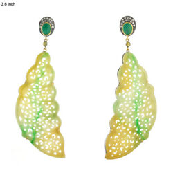 68.2ct Carved Jade And Diamond Dangle Earrings 18k Gold 925 Silver Women Jewelry