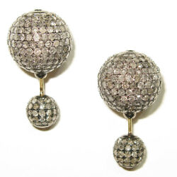 11.02ct Pave Diamond 925 Silver Double Sided Stud Earrings 14k Gold Jewelry